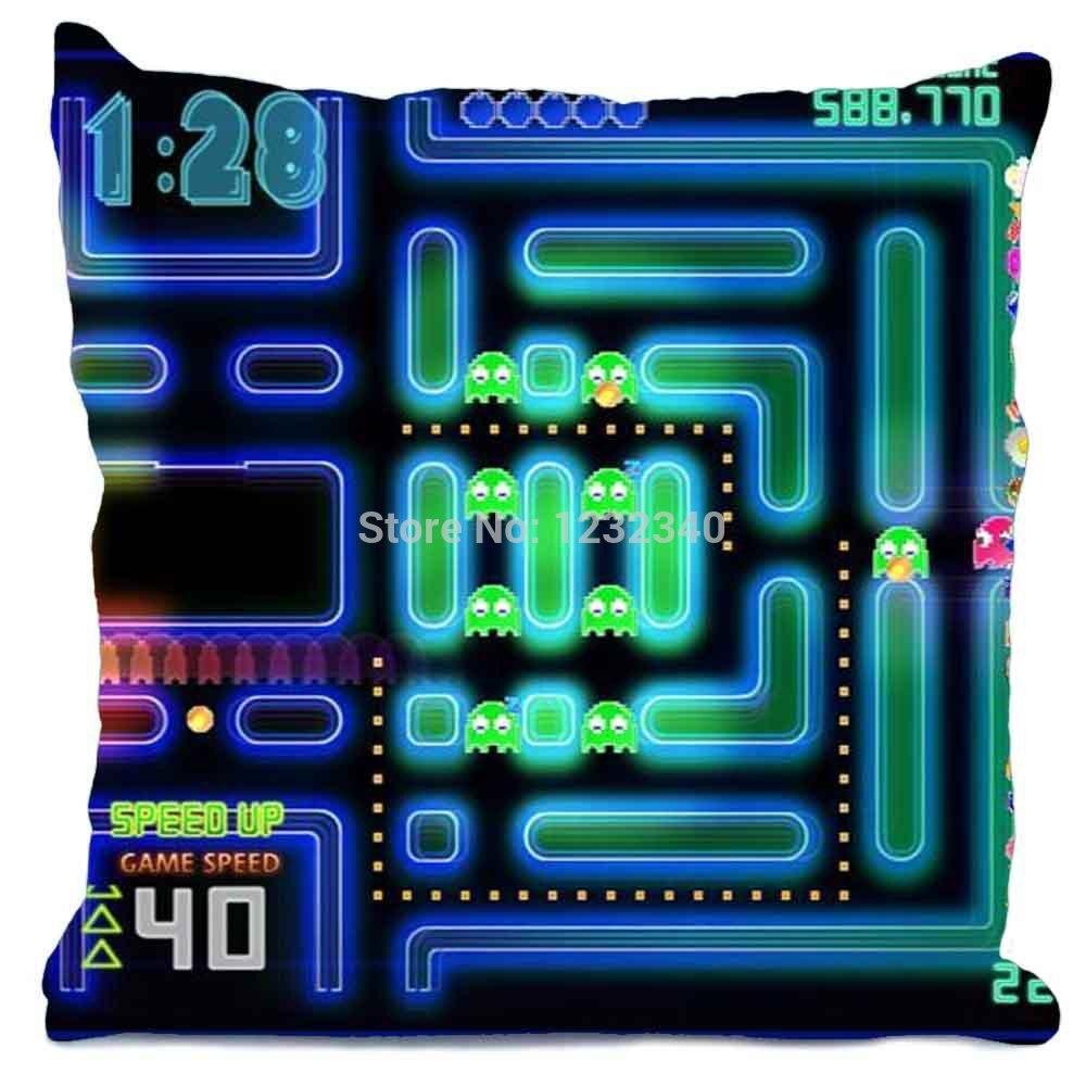 Pacman Gamer Nerd Style throw Pillowcase Custom35x35 cm (One Side)Home Car Cushion Cover ...
