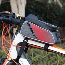 Red Waterproof Bicycle Front Tube Frame Bags Bike Cycling Beam Saddle Touch Screen Canvas Fabric Bag for 6 Inches Mobile Phones
