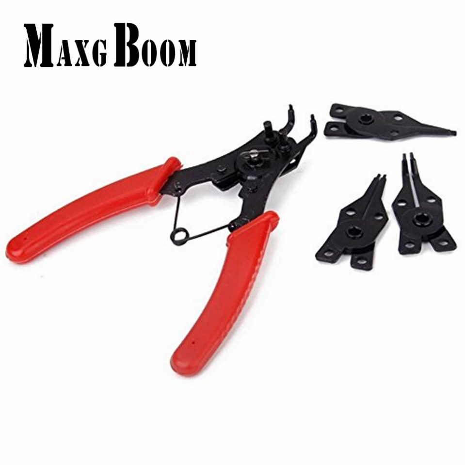 4 in 1 Snap Ring Clamp Four Headed Pliers Fastener Shaft Used Spring Disassembly Puller Springs Multitool Pliers Set Forceps 150 kam snaps size t5 snap starter set plastic poppers snap fasteners pliers