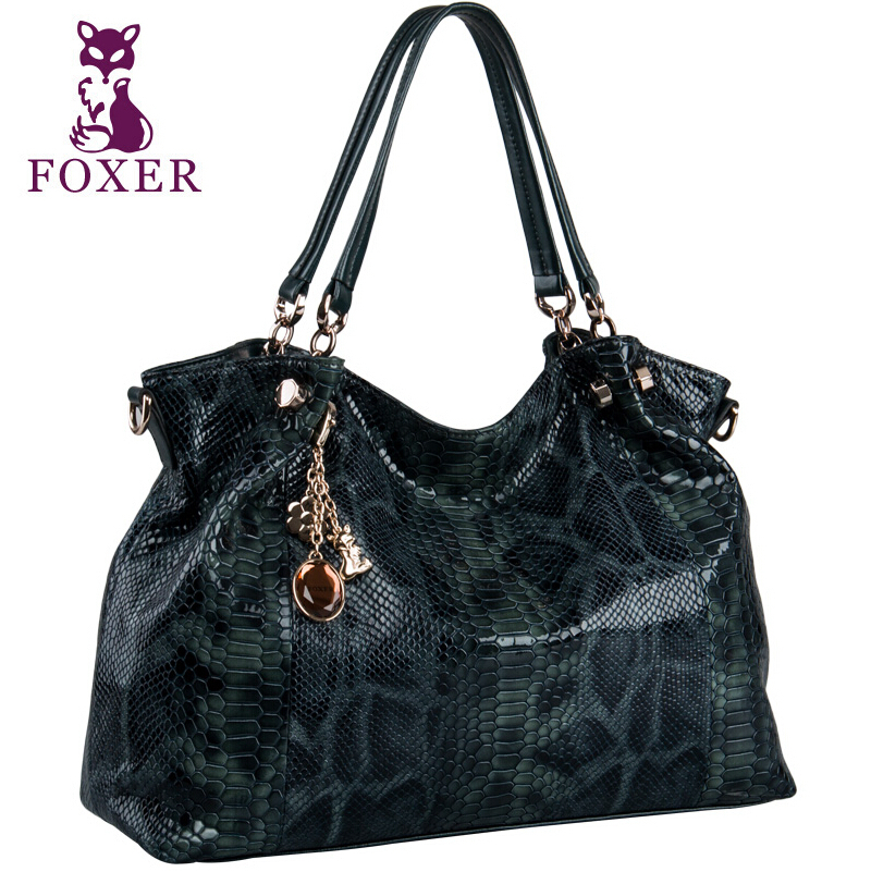 FOXER2018 high-quality fashion luxury brand new leather handbags ladies handbag first layer snakeskin autumn and winter big shou 2017 autumn and winter new women leather handbags fashion simple commuter first layer of leather handbag shoulder messenger bags