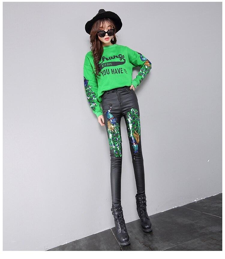 Leggings Peacock Sequined Fashion Winter Women Black High Faux Waist New Cashmere Pencil Plus Slim Appliques Pants 2018 Leather 1wvEzTqv
