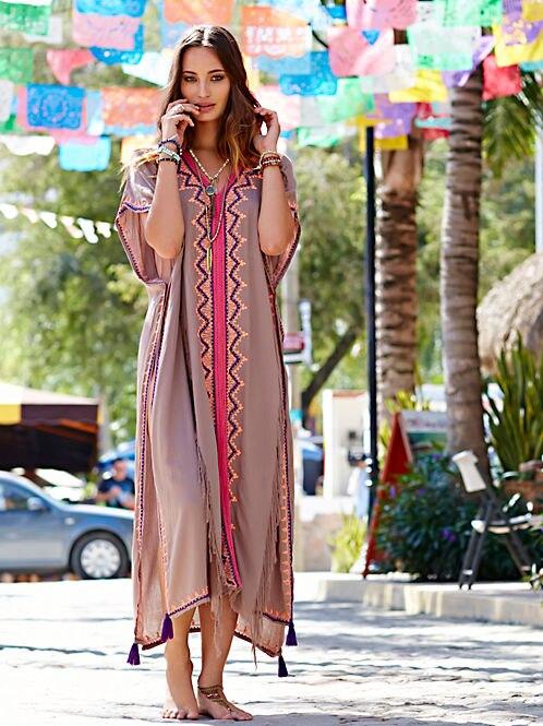 Européenne Féminine Casual Broderie Coton Conception Maxi Robe Plage Belle Longue D'été Manteau Bohême Pop Ethnique Printemps by7gf6