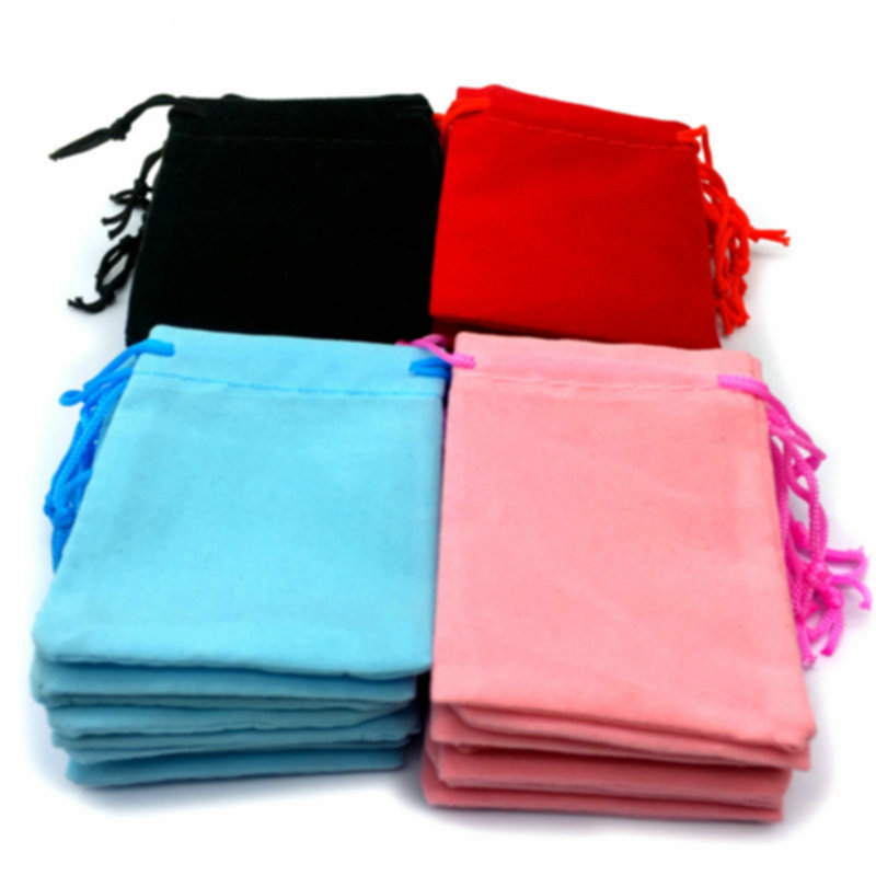 Free Shipping Wholesale 100pcs Mix Color 5x7cm Velvet Bag/jewelry Bag/organza Bags