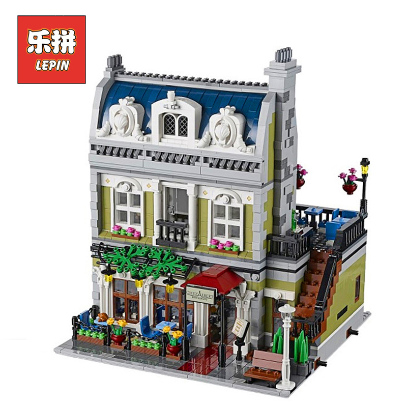 Lepin 15010 2418Pcs Creator Expert City Street Parisian Restaurant Model Building Blocks Bricks LegoINGl 10243 Children gift Toy dhl new 2418pcs lepin 15010 city street parisian restaurant model building blocks bricks intelligence toys compatible with 10243