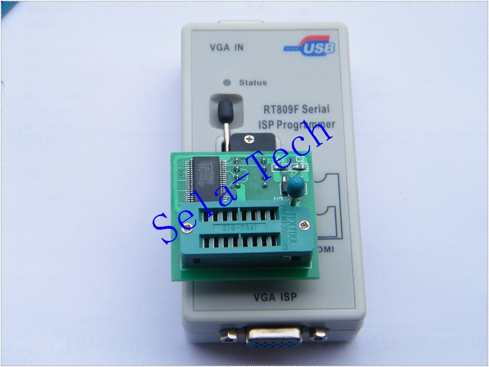 Free Shipping LCD USB Programmer RT809F Serial ISP Programmer PC Repair Tools 24-25-93 serise IC RTD2120 +V1.8adapter