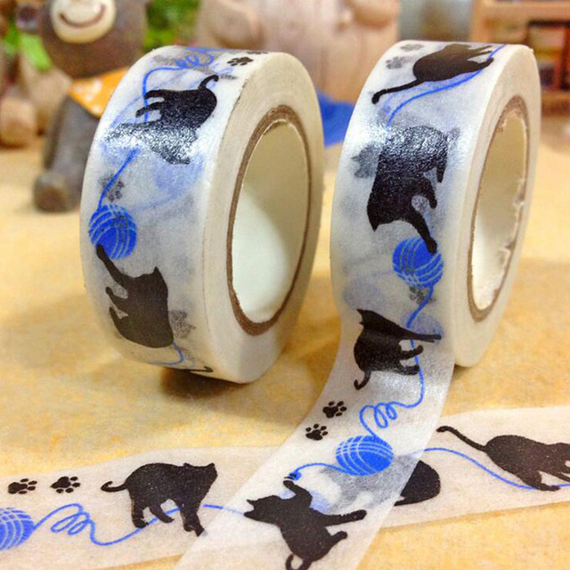 15mm * 10 m cinta del washi Japonés Kawaii gato Negro cinta de papel Decorativo de DIY Scrapbooking Etiqueta escolar shcool zakka
