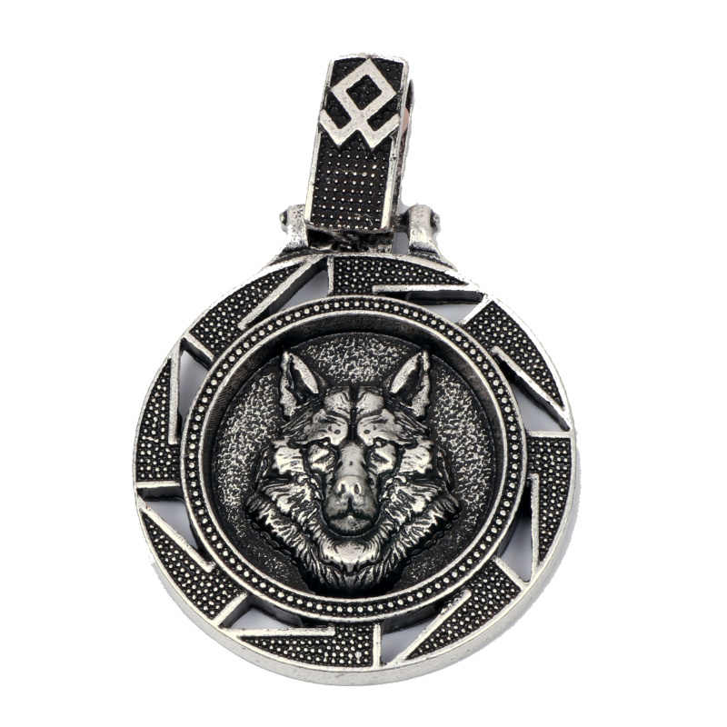 Norse Vikings Wolf Pendant Necklace Nordic Amulet Bear Eagle Slavic Symbol Original Animal Jewelry Christmas Gift Men Women