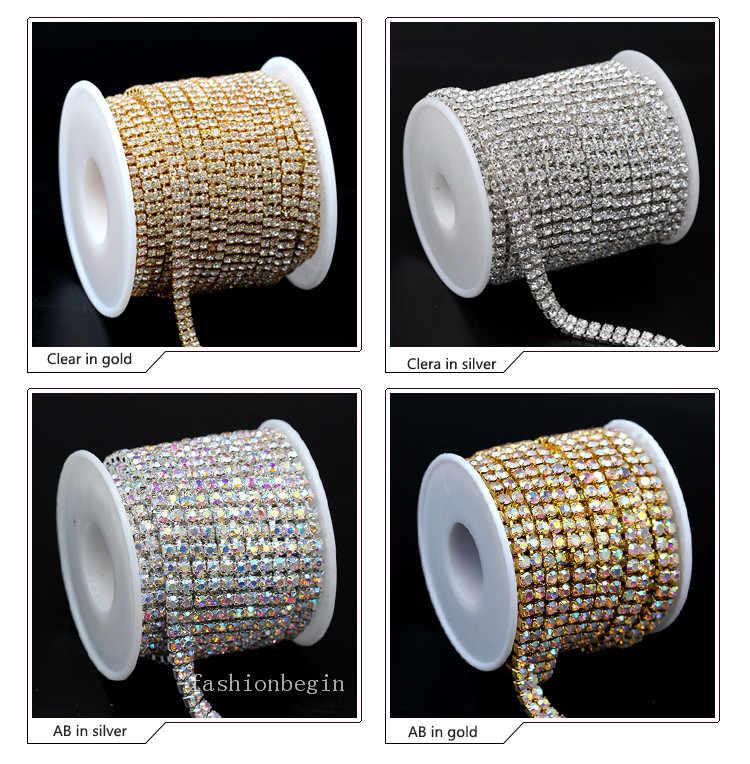 1yard 2-Rows ss6 ss8 ss12 ss16 crystal clear AB rhinestones Gold silver 0f7fe6de1c3d