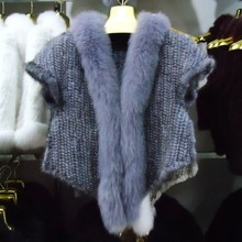 Genuine Real natural Knitted Mink Fur Shawl Wrap Cape with Fox fur collar women  free shipping