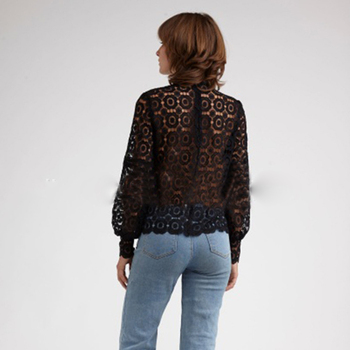 Women Lantern Sleeve Lace Blouse 4