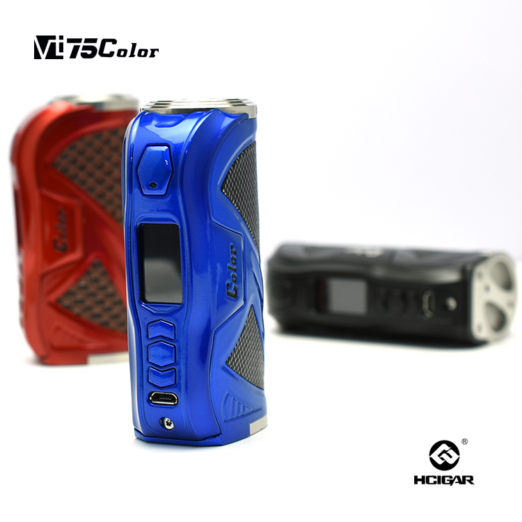 Original HCigar VT75C Box Mod 18650 Battery Full Color 0.90 TFT Display Screen Theme Designer Software Electronic Cigarette Mod