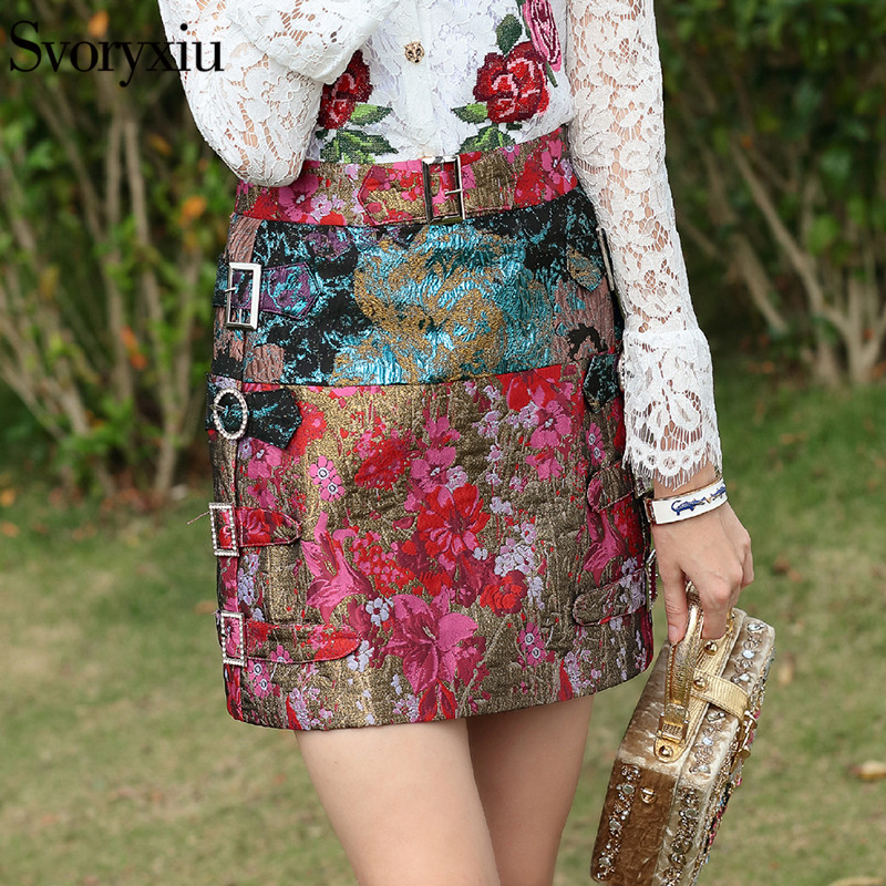 Svoryxiu Runway Vintage Summer Jacquard Skirts Women s Chic Crystal Diamonds Print Elegant A Line Mini