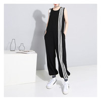 2019 Spring and Summer Black Jumpsuit Women Sleeveless Casual three Striped Jumpsuit