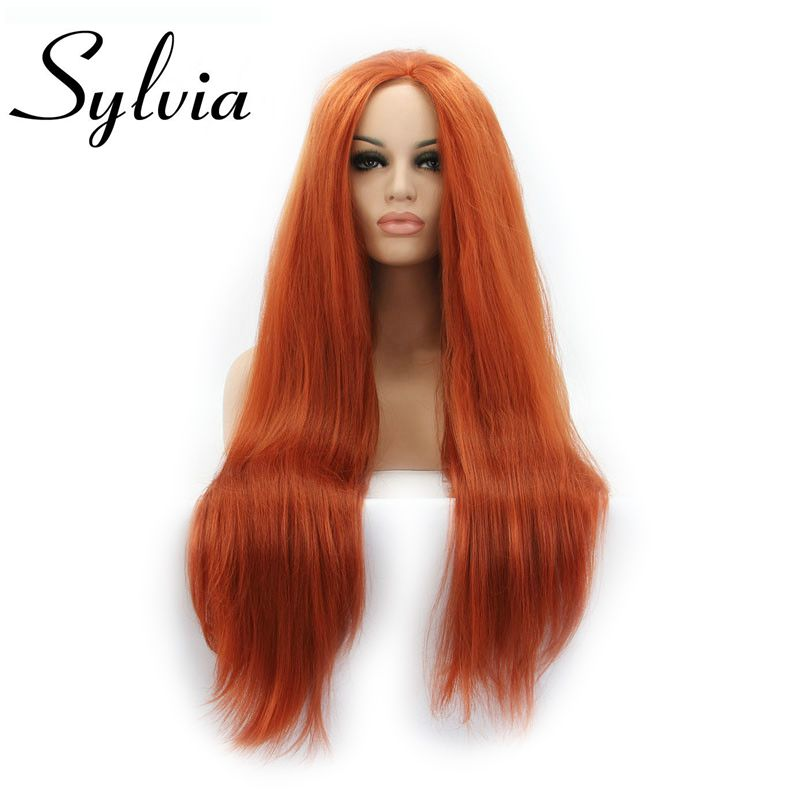 Sylvia 360#Yaki Straight Hair Wig Full And Soft Hair Synthetic Lace Front Wigs Heat Resistant Fiber Wigs For Women