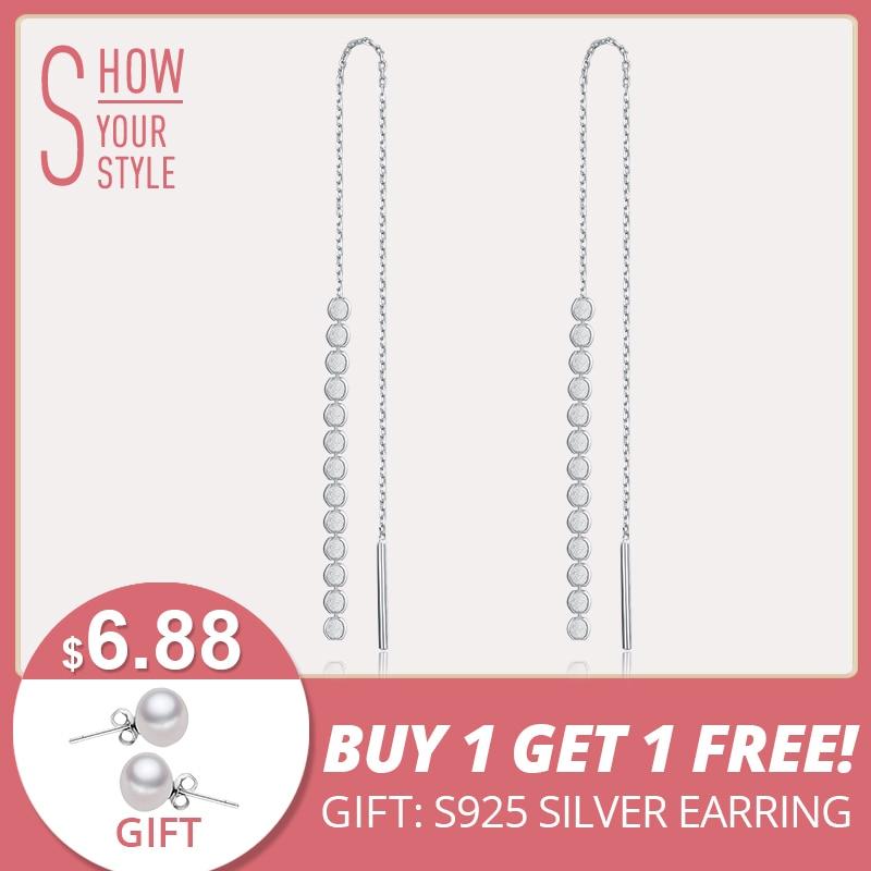 LicLiz trendi čista srebro duga lanac naušnice naušnice žene 925 Sterling Beaded kićanka naušnice uho linija omotač kapi LE0266