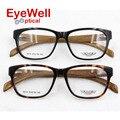 -Alto grau de Armação de Óculos de Acetato Da Marca Para As Mulheres Moda Homens Vidros do Olho Óptico óculos Full Frame Óculos com Mola De Madeira templo