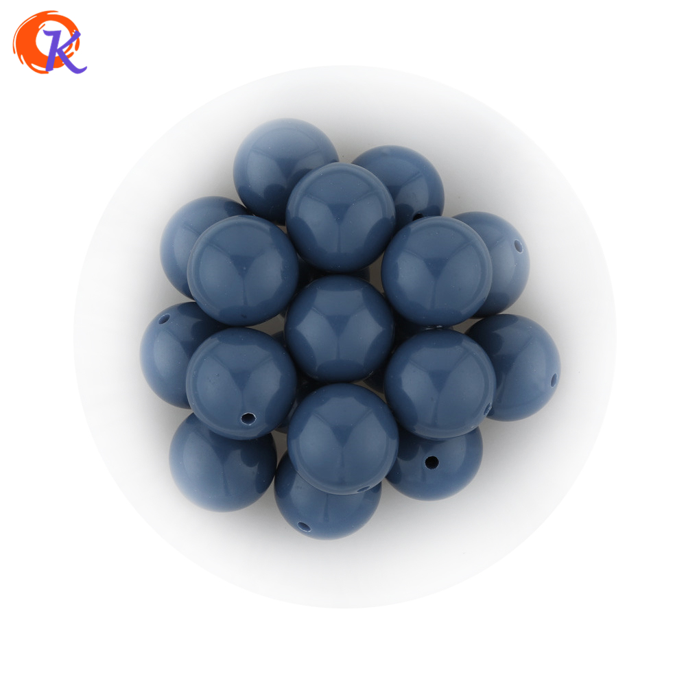 S71 20MM 100pcs New Winter Color Pale Dark Blue Kids Play Fun Bubblegum Acrylic Solid Beads For Jewelry CDWB-701177