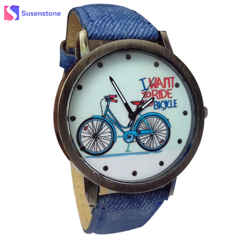 Wavors Vogue Fashion Men Women Quartz Watch 2017 Bicycle Pattern Canvas Jean Strap Ladies Casual Dress Watches relogio Time 661 men quartz watch with canvas strap