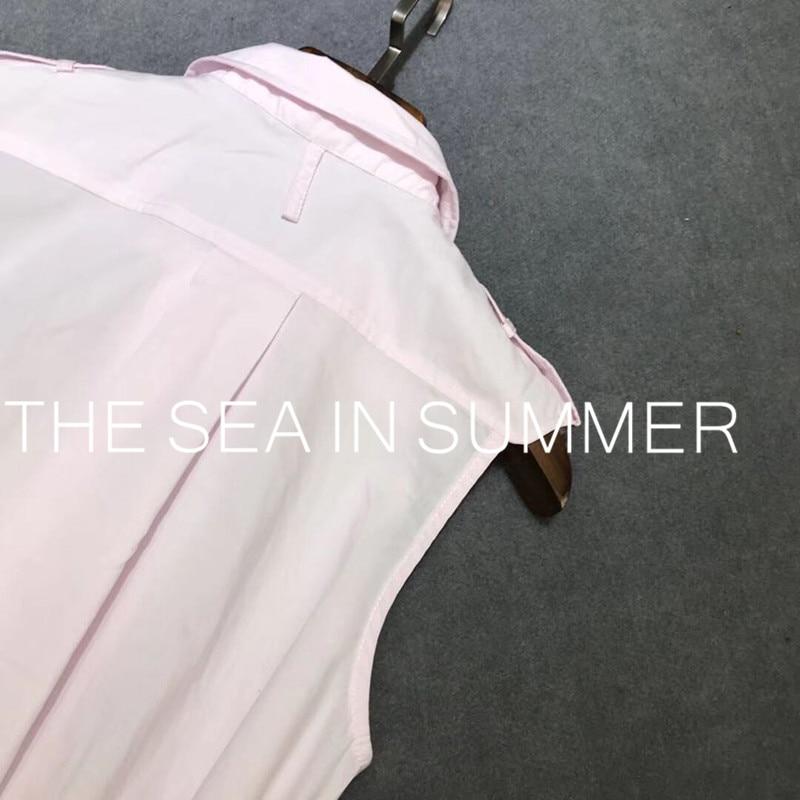 2019 zomer designer Eenvoudige temperament hoge kwaliteit slanke overhemd katoen mouwloze jurk Casual shirt jurk jurk lange jurk-in Jurken van Dames Kleding op  Groep 2