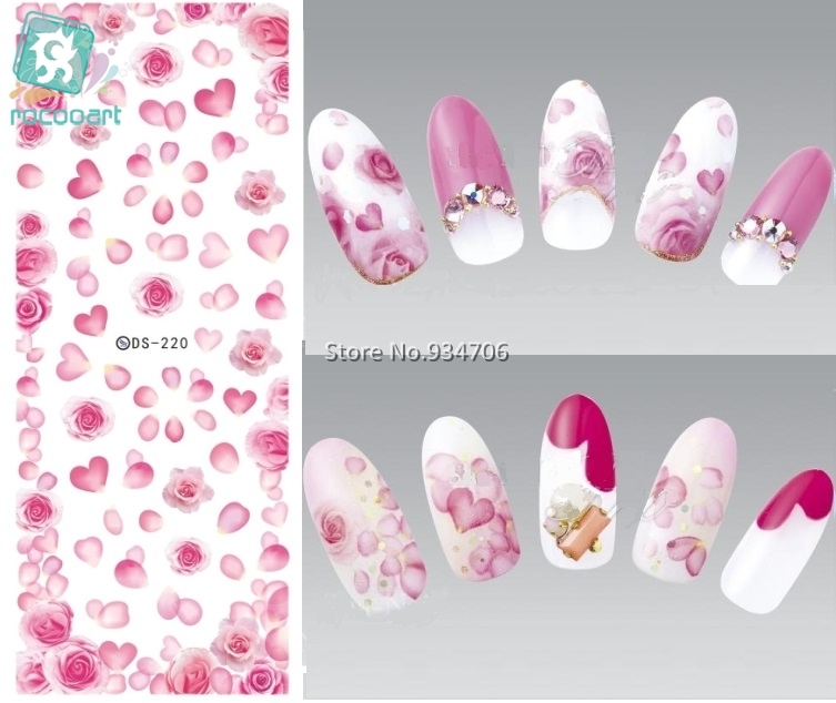 Rocooart DS220 DIY Nail Water Transfer Nails Art Sticker Rose peony Flowers Nail Wraps Sticker Watermark Fingernails Decals 1pcs water nail art transfer nail sticker water decals beauty flowers nail design manicure stickers for nails decorations tools