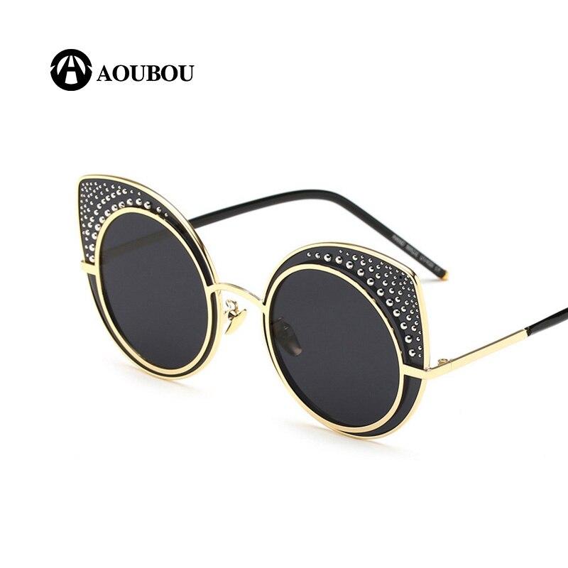 AOUBOU Módní dámské sluneční brýle Cat Eye Luxury Brand Designer Sluneční brýle Female Rivet Bead Shades Eyewear UV400 7124
