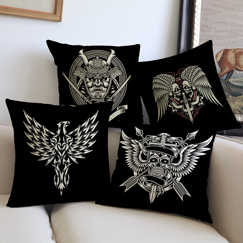 Magnificent Us 5 92 25 Off Individuality Creative Pirate Skull Wings Cross Geometric Pattern Pillow Cases Home Office Chair Sofa Decorative Cushion Cover In Dailytribune Chair Design For Home Dailytribuneorg