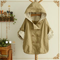 2016 Autumn Khaki&Blue Women Liners lace hooded jacket outerwear Polka dots print batwing sleeve
