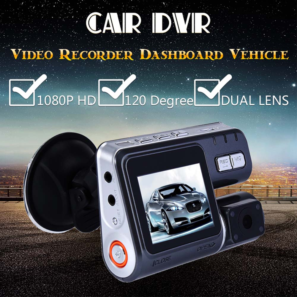 1080P HD Dual Rotatable Lens Car DVR Camera Video Recorder 120 Degree G-Sensor Dashboard Camera Dash Cam 2.0 Inch Night Vision ...