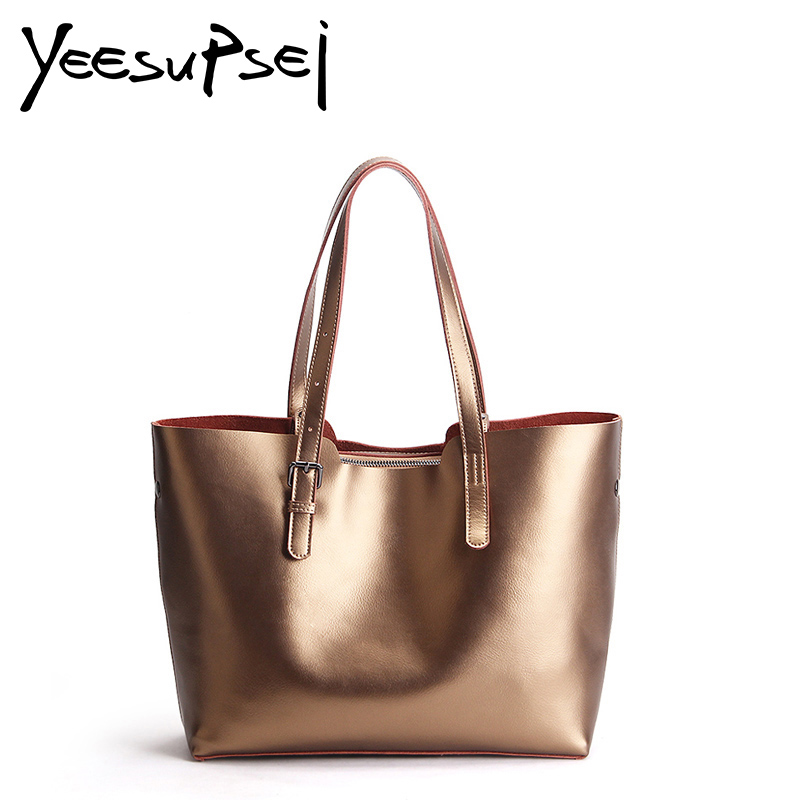 YeeSupSei Luxury Genuine Leather Women Glossy Lady Shoulder Bag Solid Color Brand Designer Cowhide Women Casual Bag A4 Available american luxury genuine leather women shoulder bag fashion brand designer cowhide women real leather women bag gifts for mother