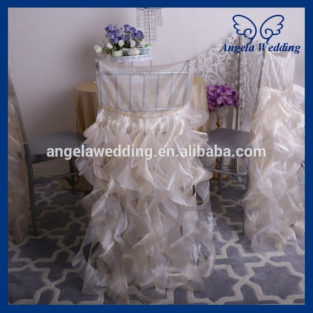 Fancy Chair Covers For Sale Remote Control Holder Arm Ch007q Angela Wedding Hot Frilly Curly Willow Champagne And Ivory Ruffled