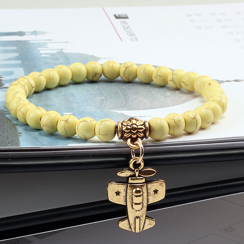 Fashion Matte Black Turquoises Beaded Bracelet For Women Alloy Gold Plane Aircraft White Beads Couple Bangles Men Jewelry Yoga
