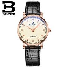 Швейцария Оригинальный Часы Бингер любовника CZ Diamond Часы Черный Кожаный Ремешок Японии Кварцевые Наручные Часы РОЖДЕСТВЕНСКИЙ Подарок для Женщин