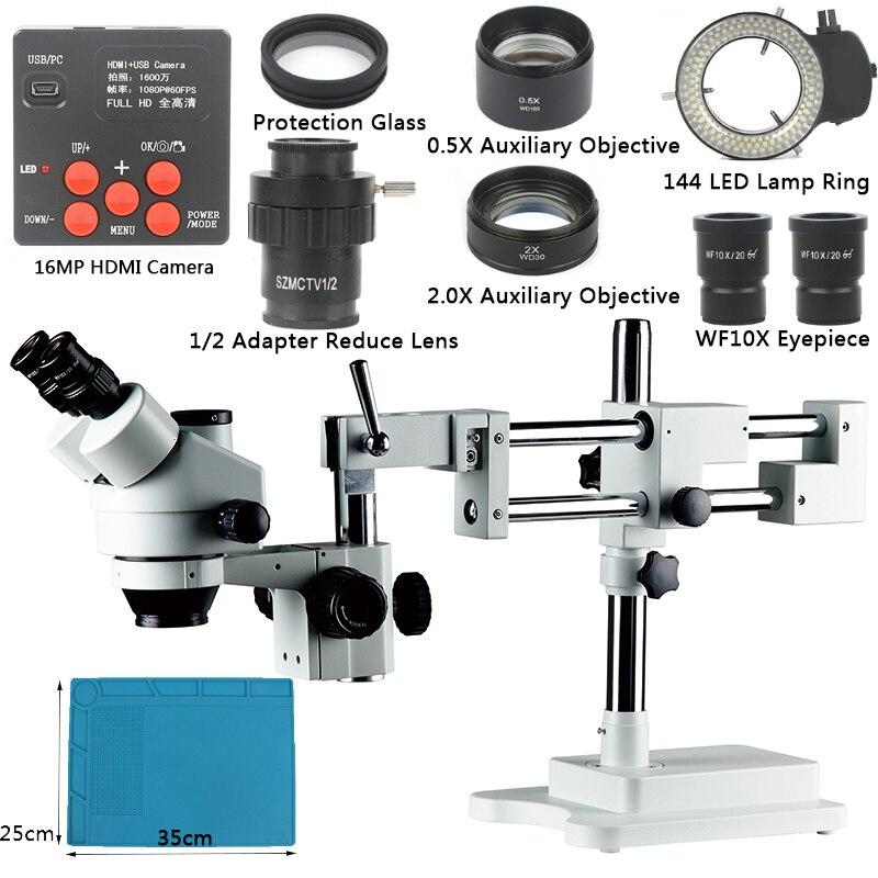 Boom Stand 3.5X-90X Simul-Focal Zoom Microscópio Set + 16MP HDMI Camera + 144 DIODO EMISSOR de Luz Para jóias Inspeção De Solda PCB