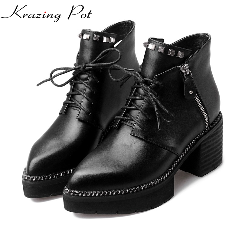 ALLBITEFO brand natural genuine leather women boots chain design fashion cool girls ankle boots ladies work