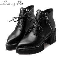 Krazing Pot full grain leather high heels platform pointed toe zipper rivets fashion European style designer ankle boots L0f1