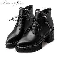 Krazing Pot Full Grain Leather High Heels Platform Pointed Toe Zipper Rivets Fashion European Style Designer