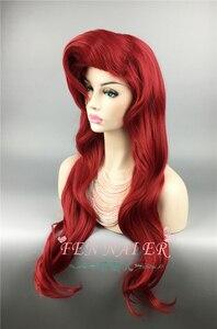 Image 2 - Парик для косплея маленькой Русалочки Ариэль, термостойкие волнистые искусственные волосы для костюма принцессы, с шапочкой