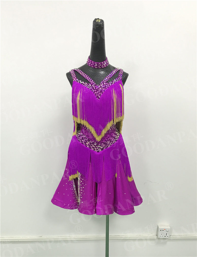 GOODANPAR Latin Dance Competition Dresses Sleeveless Backless Stage Dance Wear Women Tassels Standard Dance Dresses Custom Made