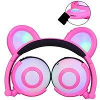 LIMSON TF Card Bear Ear Flashing Growing Headphones Foldable USB Charging Wireless Headphone for Boys and Girls