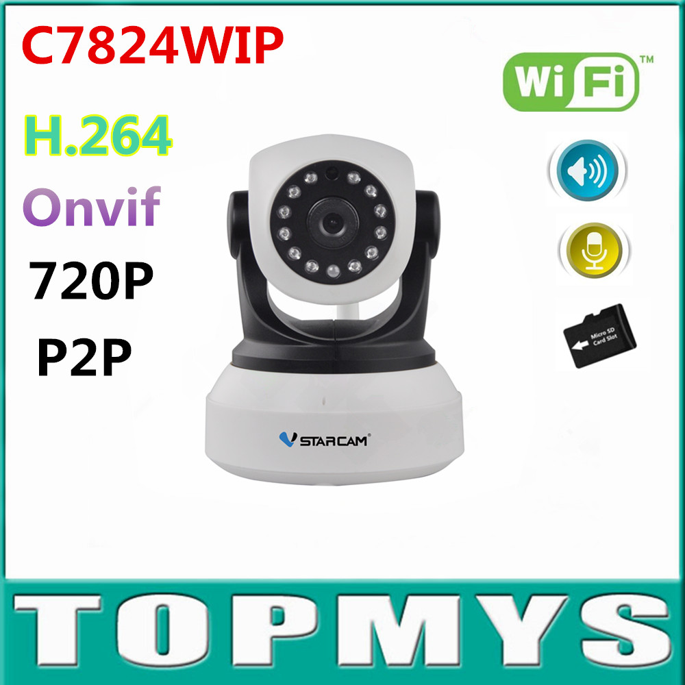 4PCS VStarcam C7824WIP wireless Wifi ip Camera 720P HD CCTV Camera mini Pan/Tilt IR night vision support 64G SD card Onvif 2.0 vstarcam c7824wip free shipping onvif 2 0 720p ip camera wireless wifi cctv ip camera with eye4 app indoor pan