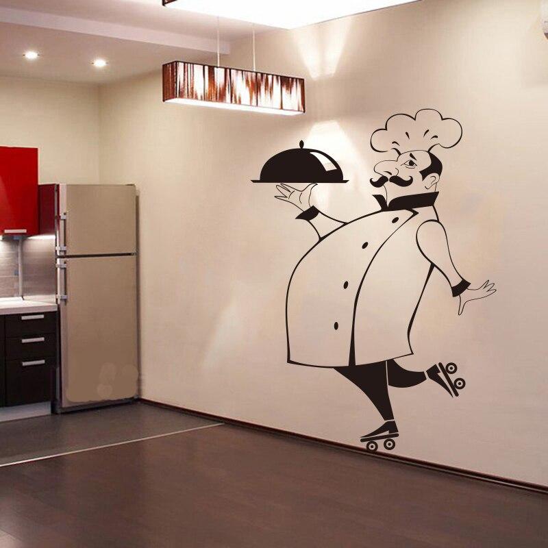 US $5.5 31% di SCONTO|Divertente Chef Autoadesivi Della Parete per la  Cucina Piastrelle di Vetro Pareti Impermeabile Del Vinile Wall Sticker ...