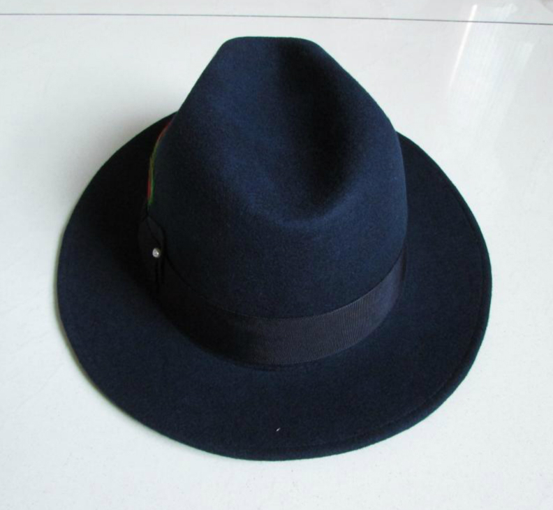 c04e9142c1998f Brand new Navy Blue Trilby Hat 100% wool felt fedora hat original Men  gentleman jazz Panama hat Unisex fashion hot selling-in Fedoras from  Apparel ...