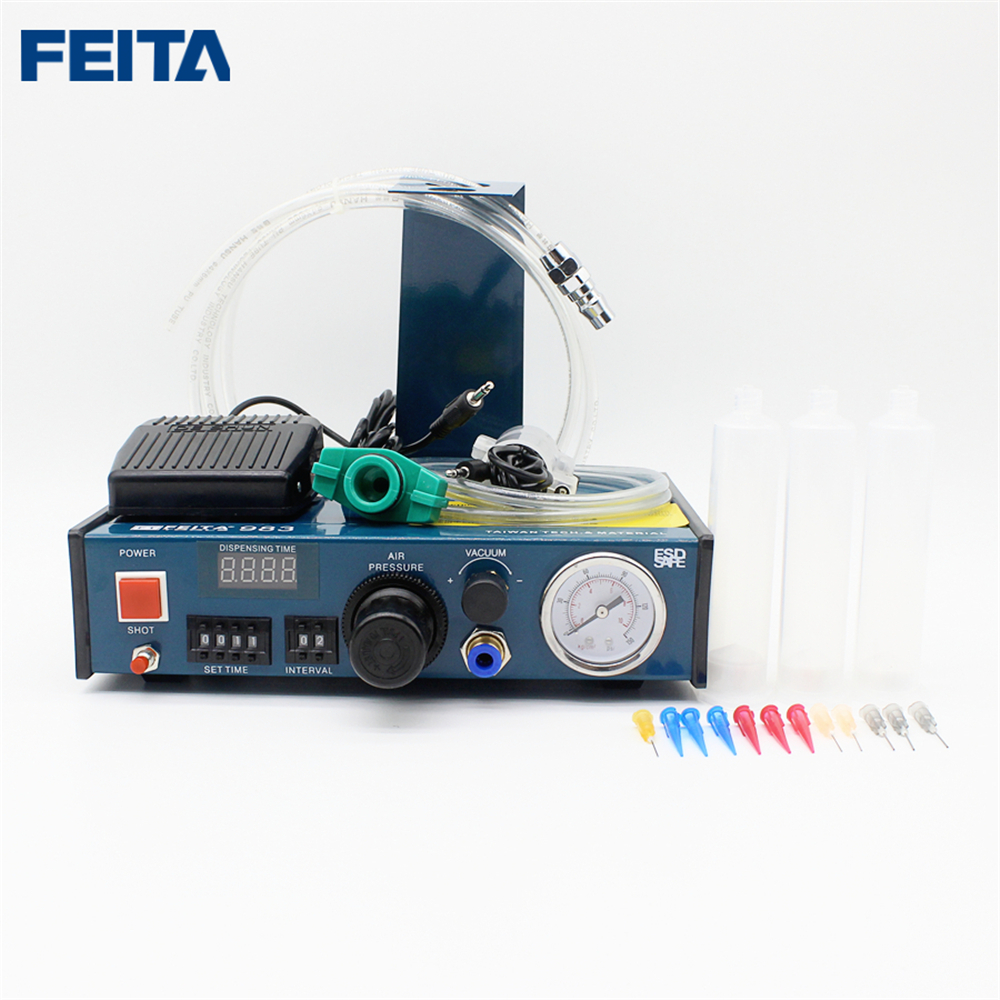 FEITA epoxy resin dispensing machine Automatic glue dispenser FT-983 high quality ft 982 automatic glue dispenser dispensing machine with glue tips & glue cylinder
