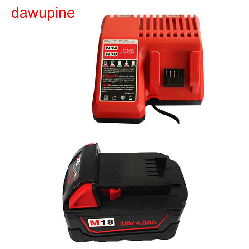 dawupine M18 4Ah Li-ion Battery N14 N18 Charger For Milwaukee M18 M14 14.4V 18V C18C C1418C 48-11-1815/1828/1840 Series