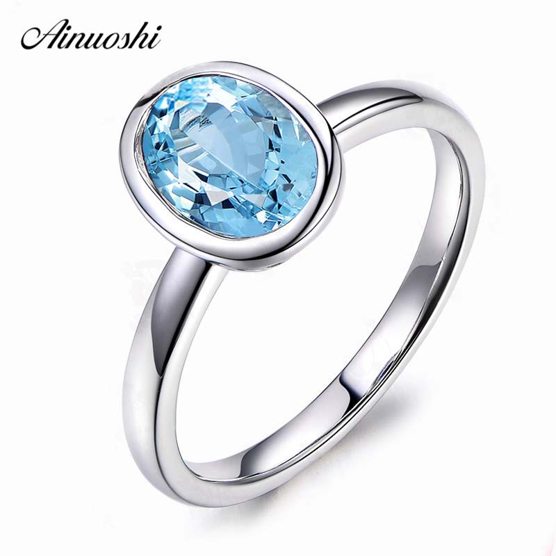 AINUOSHI 2 Carat Oval Cut Bezel Setting Classical Ring Pure 925 Sterling Silver Sky Blue Natural