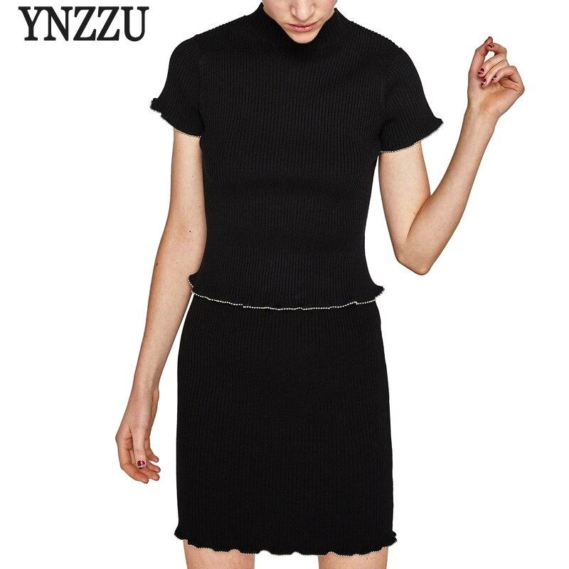 YNZZU Femmes 2018 Printemps Deux Pièces Ensembles de Perles En Métal De Mode Tricoté À Manches Courtes hauts pullover Élastique Moulante Sexy Jupe YD186