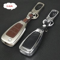 Jingyuqin Zinc Alloy Leather Key Case Chain For Ford Fiesta Focus Explorer MK3 MK4 Mondeo Ecosport