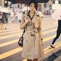 Горячие женщины Траншеи Пальто Осень 2017 Весенняя Мода Женский Шинель С Поясом Длинный Дизайн Новый Двойной Грудью