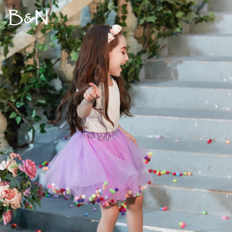 B & N Macio Chiffon Elástico Na Cintura Da Menina Pettiskirts da Princesa Crianças Dança Coloful Pompom Tutu Saias Sólida Saias de Tule Para 2-8 T