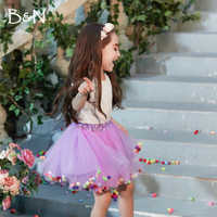 B&N Soft Chiffon Elastic Waist Girl Princess Pettiskirts Children Dance Solid Tutu Skirts Coloful Pompom Tulle Skirts For 2-8T